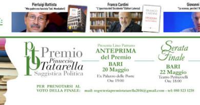 PREMIO DI SAGGISTICA POLITICA PINUCCIO TATARELLA, domenica 22 Serata finale al Teatro Petruzzelli