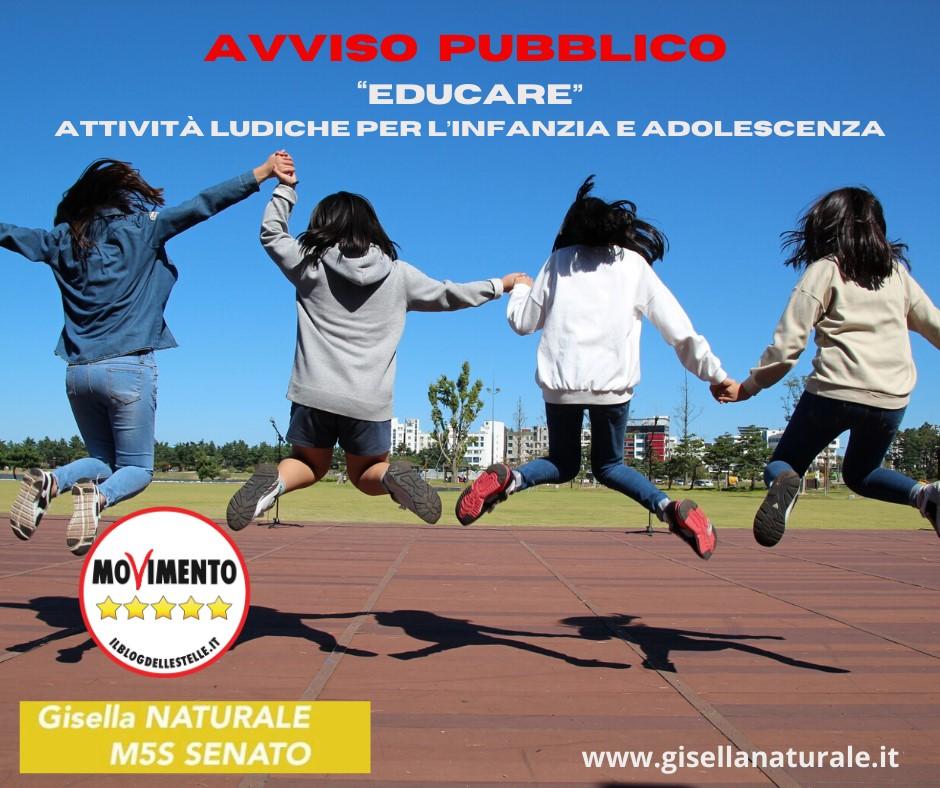NATURALE (M5S): ATTIVI I FINANZIAMENTI PER ATTIVITÀ DI EDUCAZIONE PER INFANZIA E ADOLESCENZA