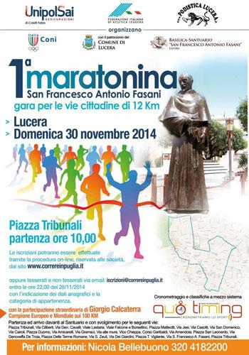 Lucera, 1° Maratonina San Francesco Antonio Fasani. domenica 30 novembre 2014