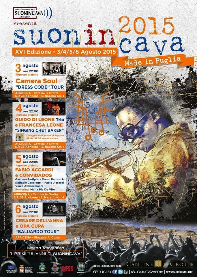 Programma di SuonInCava 2015, XVI edizione – Made in Puglia dal 3 al 6 agosto ad Apricena (Fg)