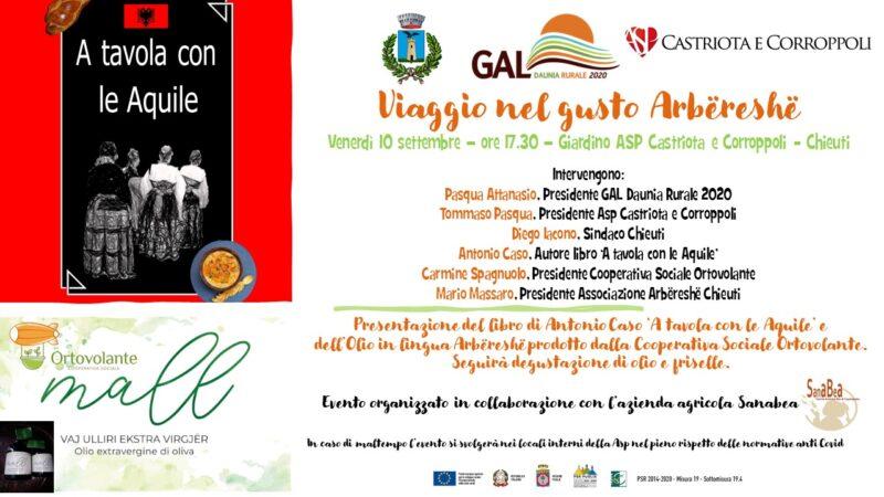Viaggio nel gusto Arbëreshë il 10 settembre 2021 a Chieuti