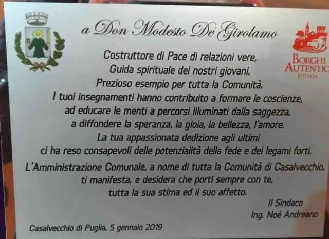 Casalvecchio di Puglia: lettera di saluto del Sindaco Noè Andreano a Don Modesto De Girolamo