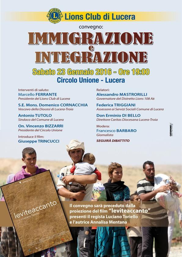 Convegno a Lucera il 23 gennaio 2016: immigrazione ed integrazione