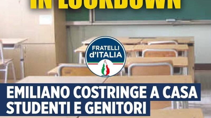Fratelli d'Italia Puglia: Emiliano costringe a casa genitori e studenti