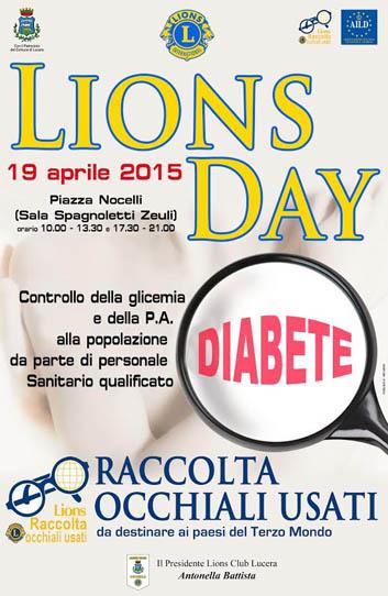 Domenica 19 Aprile 2015  anche a Lucera il Lions Day: controllo della glicemia alla popolazione