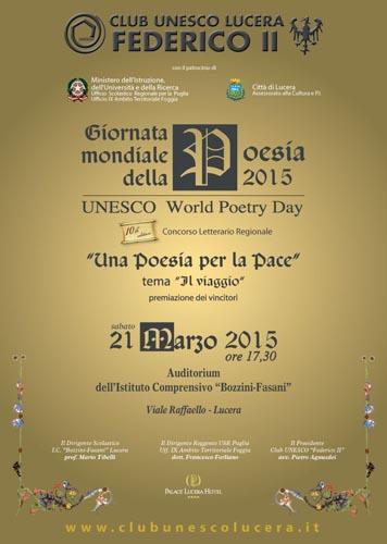 Giornata mondiale della Poesia, evento a Lucera il 21 marzo 2015