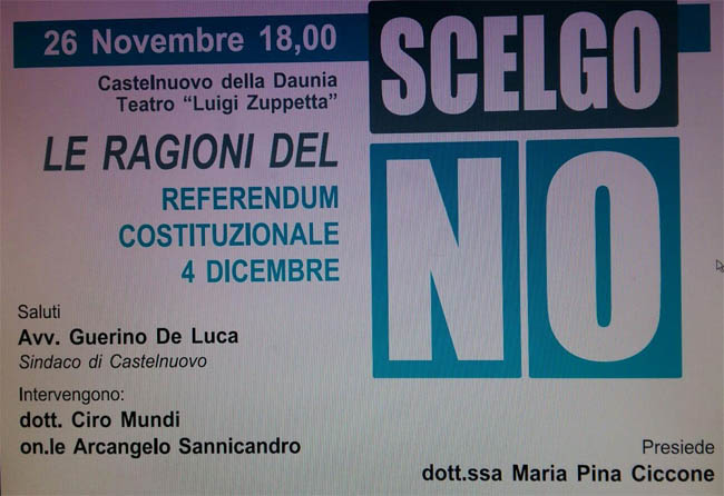 Le ragioni del no al referendum costituzionale. Se ne parla il 26 novembre a Castelnuovo della Daunia