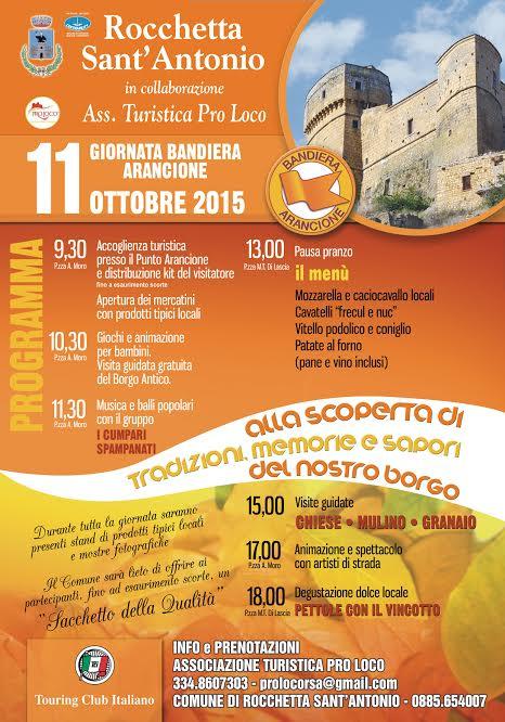 DOMENICA 11 OTTOBRE GIORNATA DELLE BANDIERE ARANCIONI a Rocchetta Sant'Antonio
