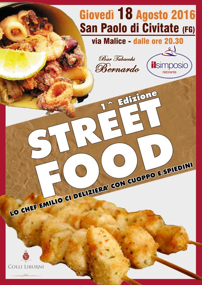 A San Paolo di Civitate il 18 agosto 2016 prima edizione  dello Street Food  con il Ristorante Il Simposio
