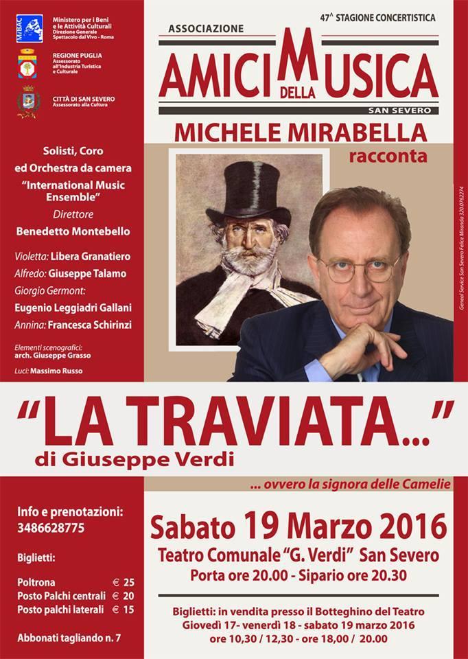 Michele Mirabella racconta La Traviata di Giuseppe Verdi il 19 marzo 2016 a San Severo (Fg)