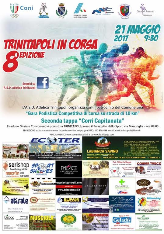 Domenica 21 maggio 2017 torna la Trinitapoli in Corsa