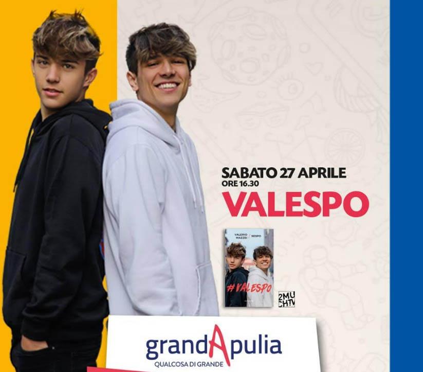 Valespo al GrandApulia il 27 aprile 2019 firmacopie del libro diventato bestseller
